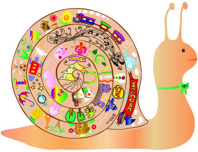 蜗牛简笔画的彩色配图