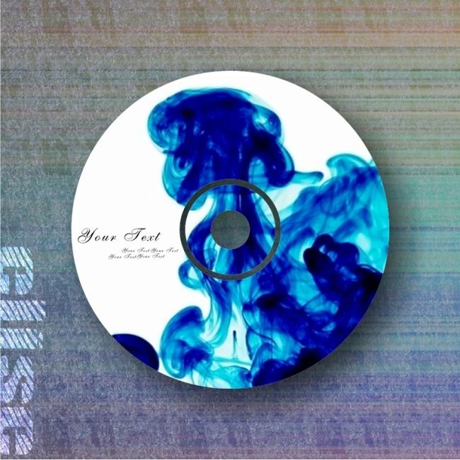水墨蓝色光盘 cd模版 光盘封面设计模板下载
