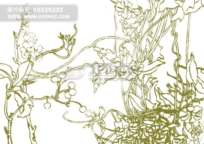矢量 素材 白描画 素描画 手绘画 美术画 简写画 简笔画 钢笔画 线条