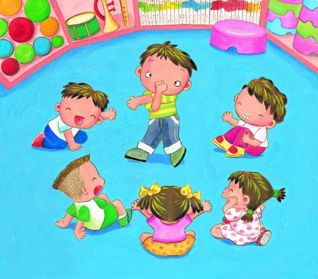 幼儿模仿动物游戏插画