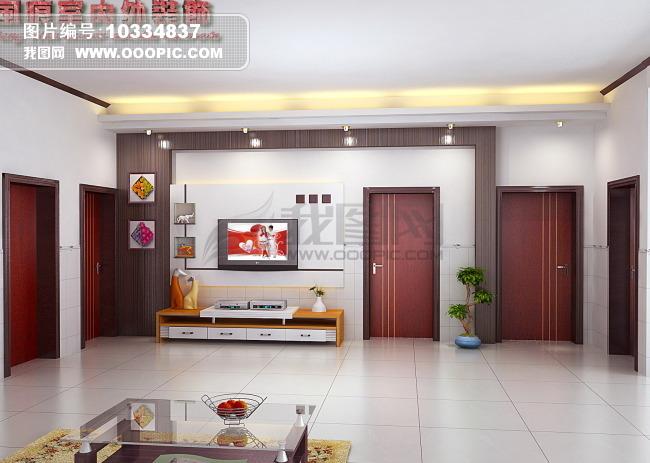 室内3dmax设计 电视墙模型图片