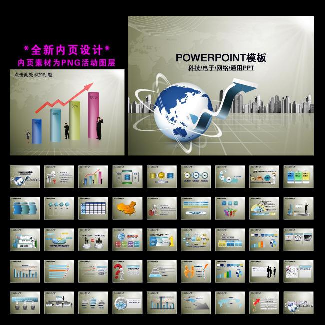 电脑it科技网络通讯ppt模板下载