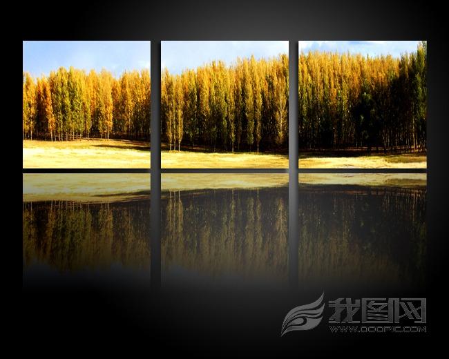 树林风景无框画