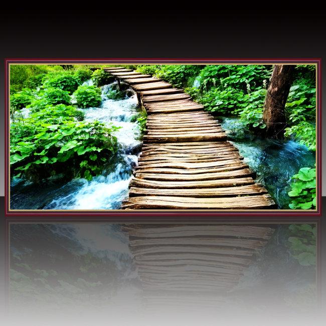 小桥流水风景装饰画设计模板下载