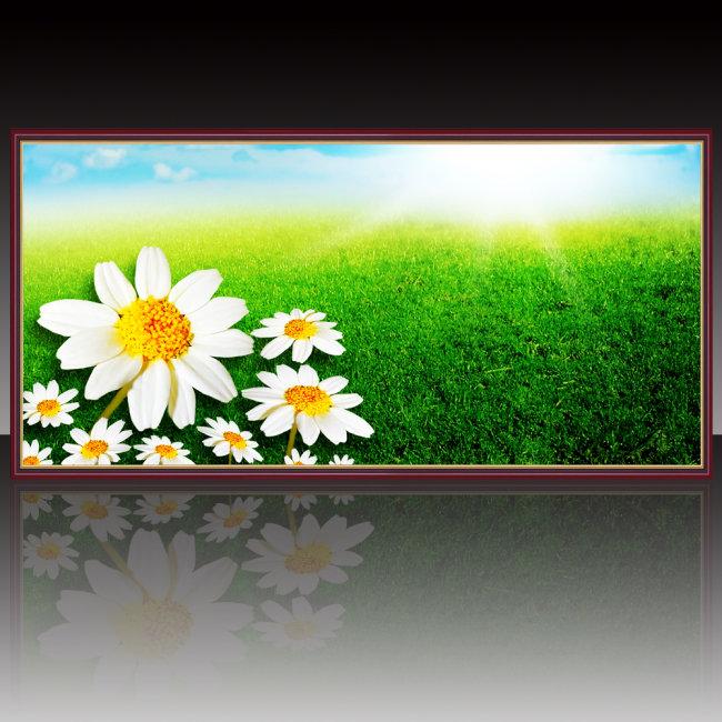 风景 鲜花/[版权图片]山水风景鲜花草地装饰画设计