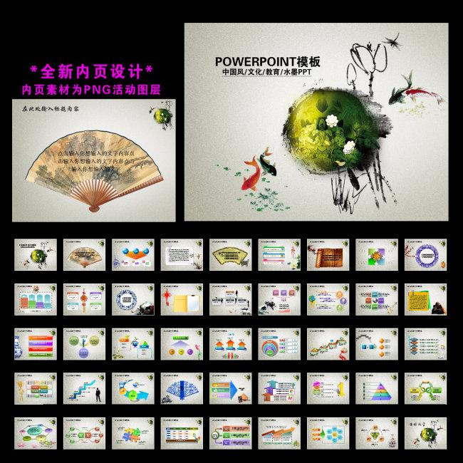 中国风元素文化交流教育幻灯片PPT模板模板下载 10367272 中国风