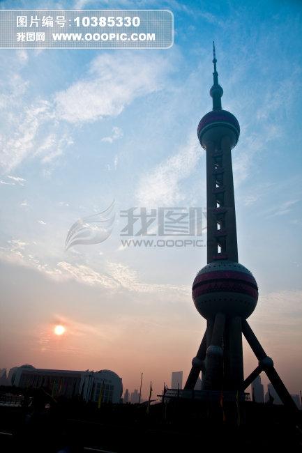 东方明珠电视塔图片下载 上海 地标 现代 商业 建筑 电视塔 夕阳 落日