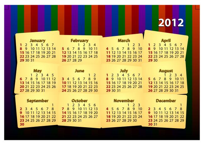 2012年年历模板下载(图片编号:10386892)图片