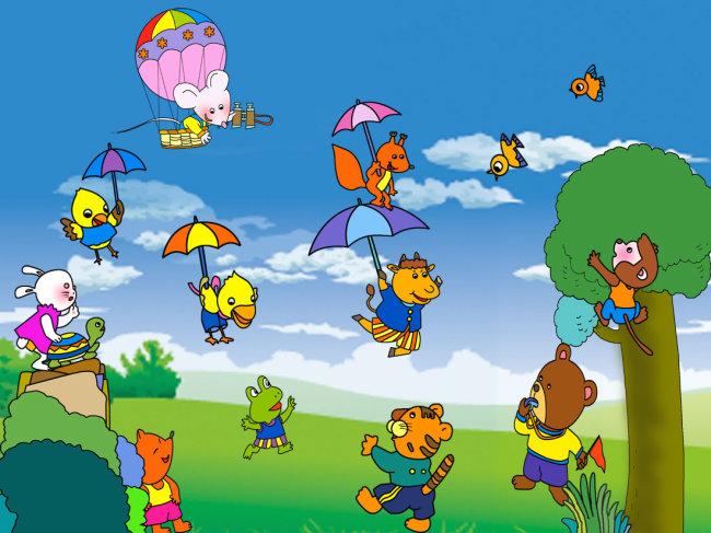 幼儿园素材 幼儿园海报 幼儿园展板模板 卡通动物 卡通动物素材