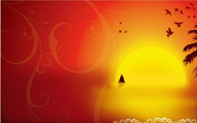 红色帆船卡通图片