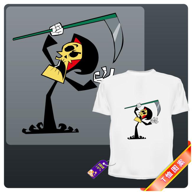 骷髅t恤图案 时尚 动画人物 潮流 个性 卡通 卡通人物 漫画 骷髅 矢量