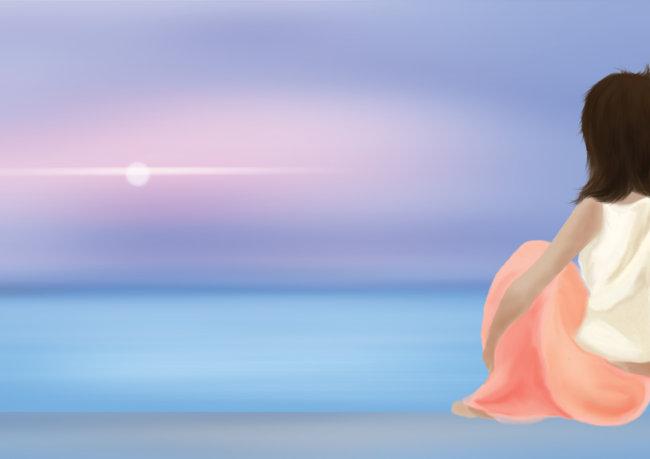 海边远眺图片下载 手绘人物