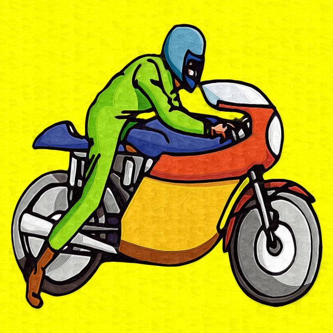 油画-摩托车手