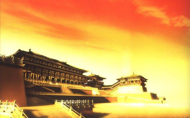 大唐帝国大明宫图片下载 大明宫 西安大明宫 大明宫复原图 宫殿 城池图片