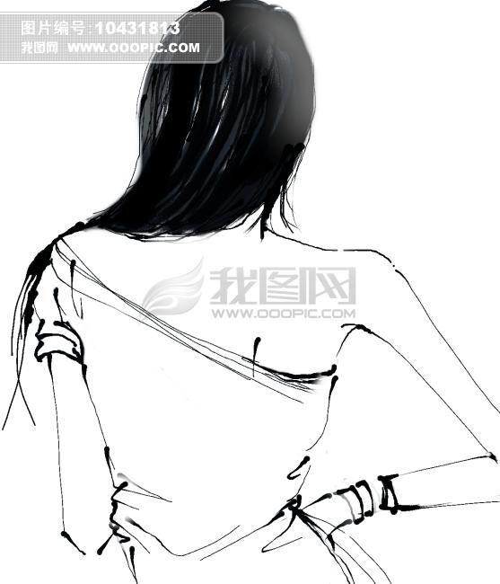 女性背影简笔画