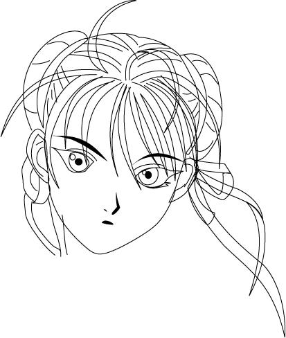 女孩脸部素描 长发模板下载(图片编号:10434443)_插画
