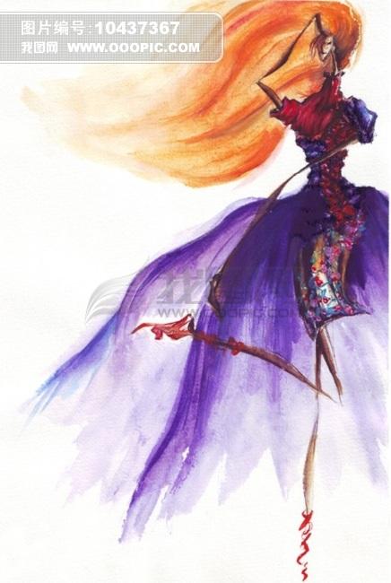 经典手绘服装效果图插画