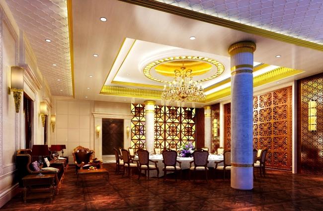 酒店餐厅包厢设计方案效果图