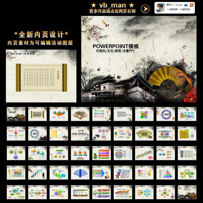 化教育培训传统中国风元素幻灯片PPT模板下载 10438751 中国风PPT