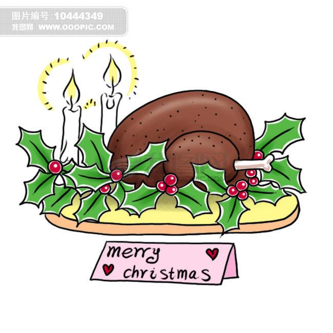 手绘卡通 节日贺卡 圣诞节火鸡