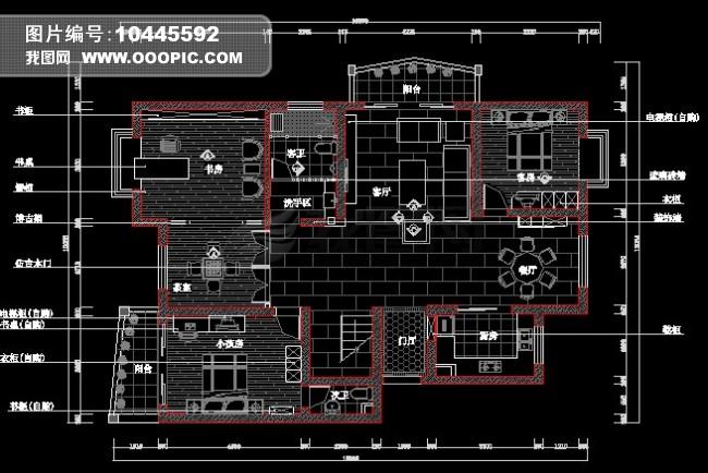 纯中式风格室内装修cad施工设计图纸