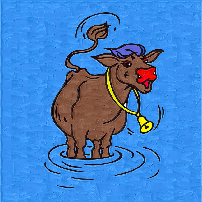 儿童画 趣味 可爱 生动 艺术 素材 儿童读物 绘本 手绘 水 洗澡 牛