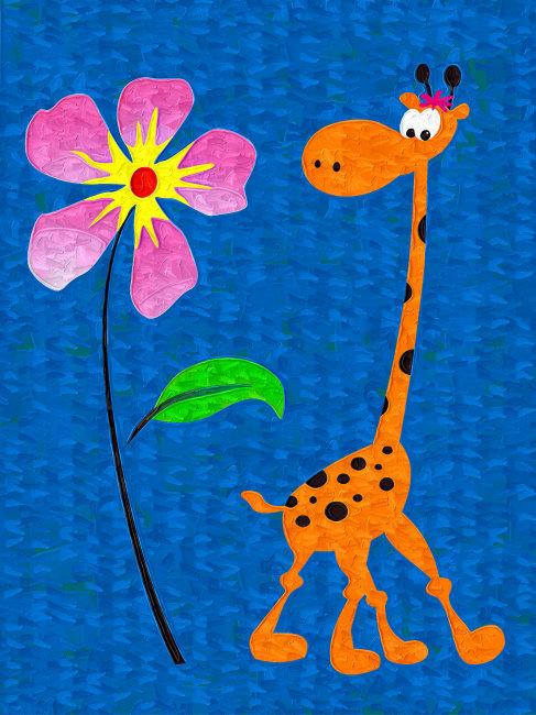 儿童画画长颈鹿大象