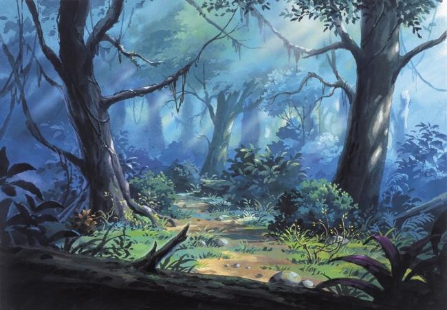 手绘插画怪物森林