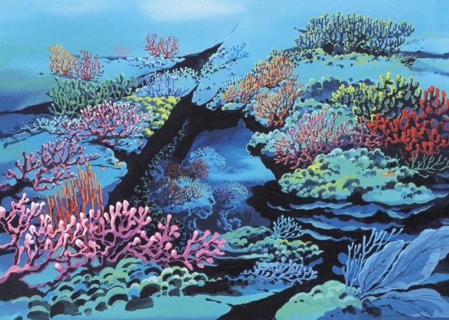 水粉手绘海洋插画