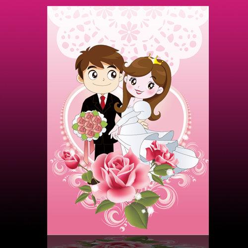 卡通新郎新娘素材图片下载 卡通新郎新娘素材 婚庆素材 婚庆展板 情人