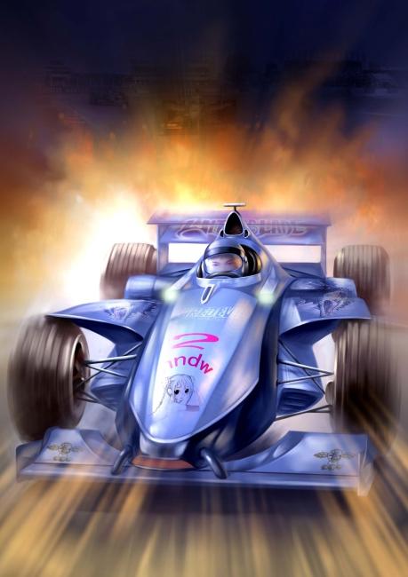 手绘漫画方程式赛车