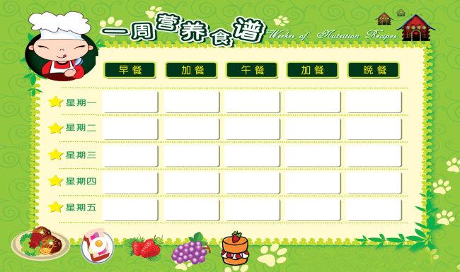 幼儿园一周食谱图片下载