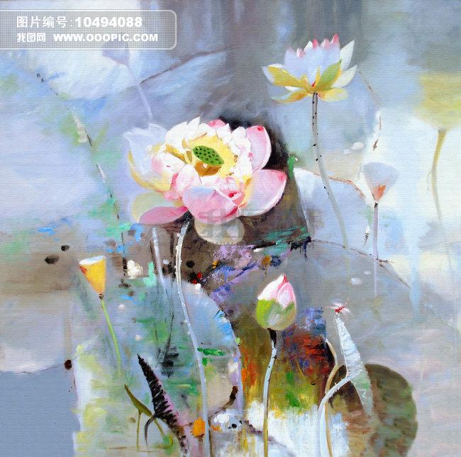 布画莲花抽象手绘