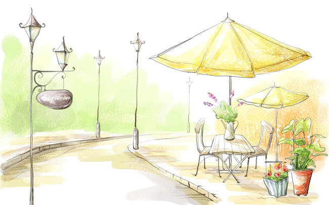 色彩 温馨 线稿 手绘 马克笔画 园林设计 淡色 淡彩 建筑绘图 柔美