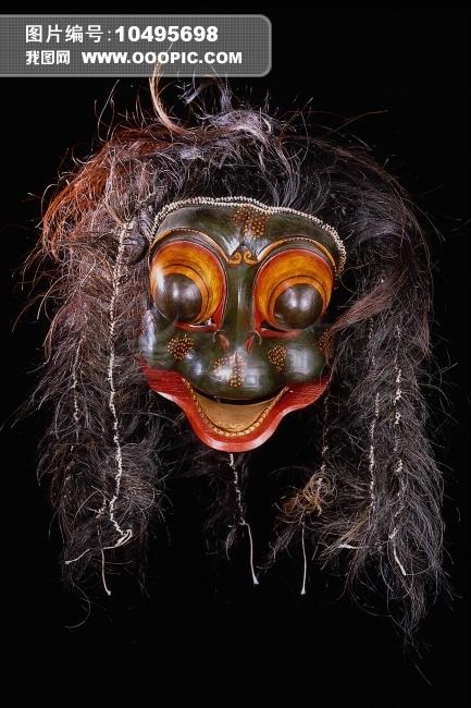 木雕彩绘面具图片素材 10495698 艺术品图片库