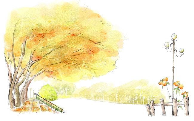 简单的风景画_水彩画风景
