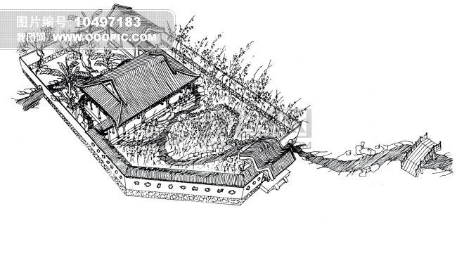 建筑绘图 速写 绘画 美术 手绘 场景 中国建筑 古代场景 设定 线条