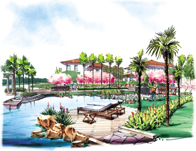 建筑手绘效果图图片下载 园林设计水彩画手绘风景建筑绘画 环境设计