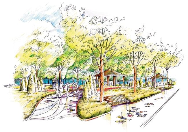 手绘        公共建筑 建筑效果图 手绘建筑效果图 手绘背景 手绘风景