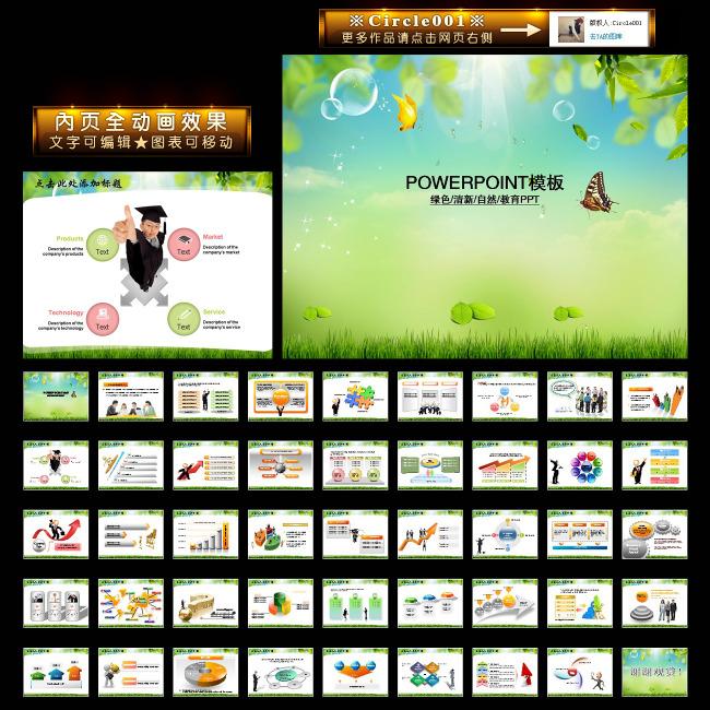 教育自然绿色清新动画幻灯片ppt模板