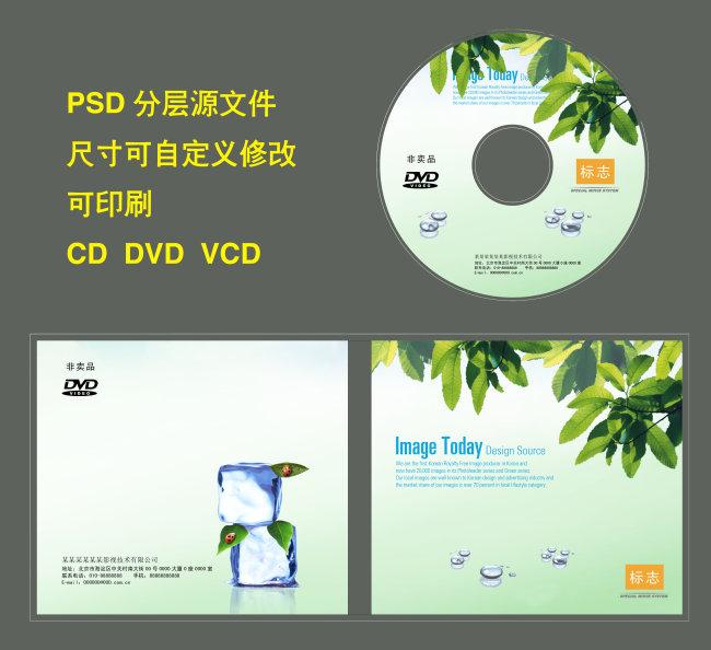 光盘封面设计 光盘封面图片下载树叶叶子水滴冰块光盘封面设计 光盘