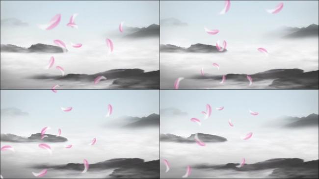 荷花瓣飘落高清动态水墨效果视频素材模板下载 10525742 动态 特效