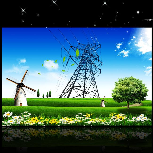 电力工程国家电网改造安全生产海报设计