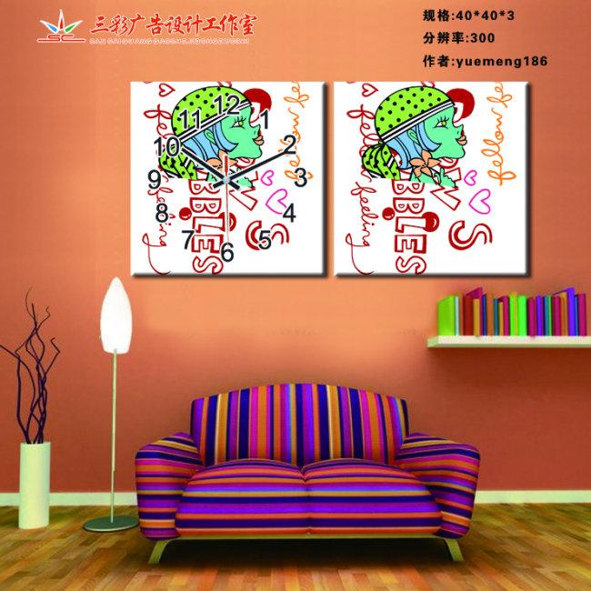室内装饰|无框画|背景墙; 无框画; [jpg]时尚无框画设计模板时钟壁挂