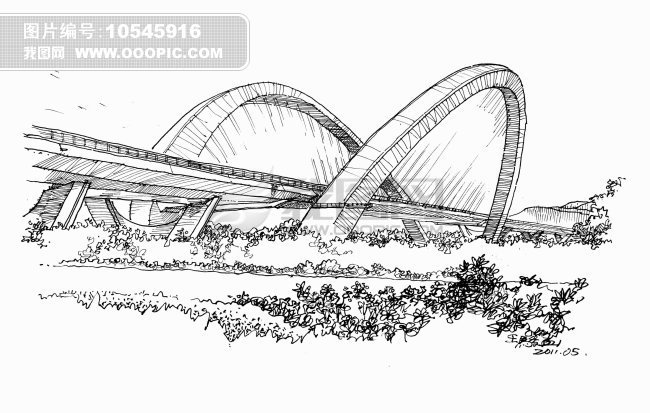 南宁大桥钢笔画