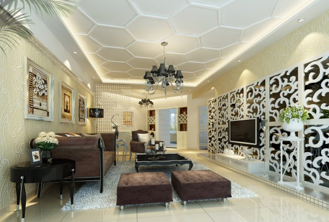 欧式客厅 西式客厅 电视墙设计