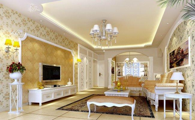 豪华客厅设计 3d效果图欧式客厅 西式客厅 电视墙设计 装修效果图