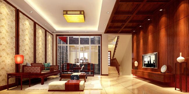 图图片下载 室内设计客厅效果图 客厅设计电视墙设计 木式客厅设计