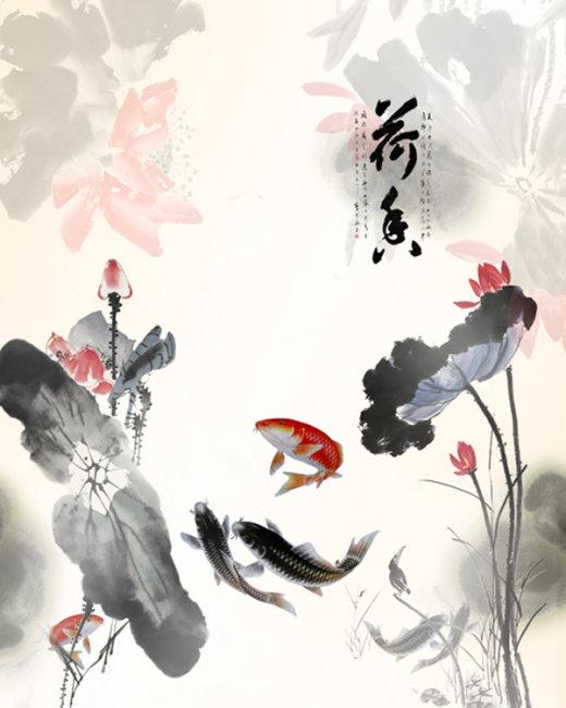 水墨荷花鱼国画图片