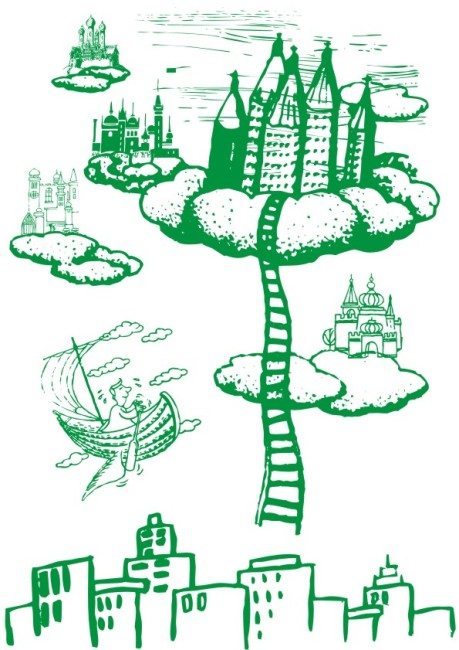 美术画 简写画 简笔画 线条画 美工画 手描画 插画 画 海市蜃楼 高楼